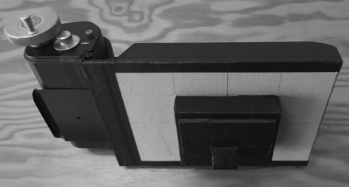 schlomoff, pinhole camera, calumet c2 roll film holder, label impatience
